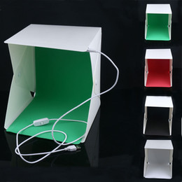 Wholesale best photo box - 2018 Best Selling Mini Folding Studio Diffuse Soft Box With LED Light Black White Green Red Background Photo Studio Accessories Lightbox