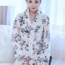 9cc69687c0 Hot Sale Winter Lady Pajamas Bath Robe Sleepwear Womens Robes Coral Velvet Bathrobes  Women floral Homewear Asia Size s-XXXL