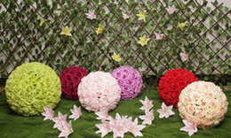 Wholesale chocolate bride - Artificial Flower Silk Flower For Wedding Decorative Flower Fake Flowers Kissing Ball Rose Balls For Party Decorative