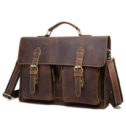 Wholesale Vintage Mens Leather Briefcase - Wholesale- 2016 top quality cow leather vintage handmade crazy horse briefcase mens genuine leather messenger bags male business office bag
