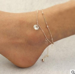 titan rosen schmuck Rabatt Sexy Gold Beach Fußkettchen Multilayer hohlen Rosen Kristall Knöchel Armband Fuß Schmuck für Frauen Fußkettchen Armband am Bein