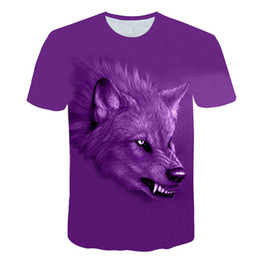 T-shirts géants en Ligne-2018 fashion trend new men's T-shirt     Green Giant   3D digital printing hungry wolf male leisure T-shirt