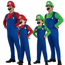 halloween enfants cosplay costume super mario luigi frères combinaison plombier fantaisie costume parti 3pcs 1set barboteuse + chapeau + barbe en gros ? partir de fabricateur