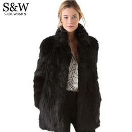плюс размер черного кролика Скидка Белый/черный искусственный мех пальто женщин зимнее пальто средней длины Кролик Лисий мех пальто плюс размер XXXL 4XL 5XL женская меховая куртка большой размер