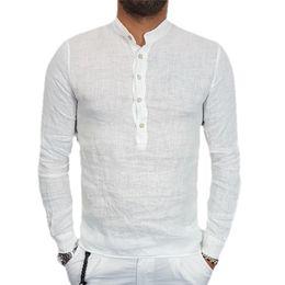 2019 camisas delgadas para hombre de cuello alto 2018 Camisas para hombres Casual Cotton Line Camisas Marca Hombre manga larga Stand Collar Slim fit Mens Clothes Summer camisas delgadas para hombre de cuello alto baratos