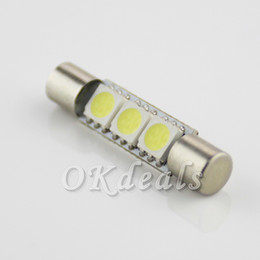 Wholesale Led Light For Mirror Car - 2PCS New Hot Sale White LED Car 3-SMD 31mm 6641 festoon LED Bulbs For Car Vanity Mirror Lights Sun Visor Automobiles Car Styling