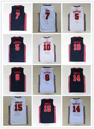 Wholesale bird wines - NCAA 1992 USA Dream Team #9 Mich JERSES Jersey #7 Larry Bird Olympic Game Basketball Jerseys Throwback Stitched blue white