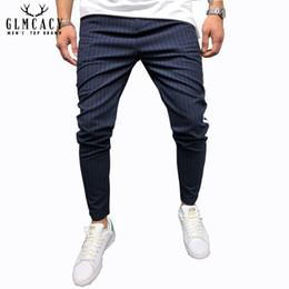 Calle tira online-Pantalones de tobillo para hombre Streetwear Side Stripes Pantalones a cuadros Casual Slim Fit Street Fashion