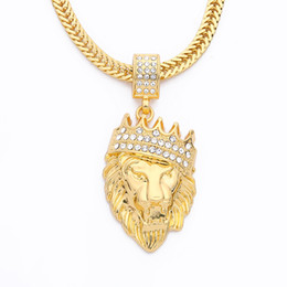 Wholesale Crystal Lion Head Necklace - New Color Alloy 78cm Chain Men Lion Head Pendant Inlay Rhinestone Necklace Hiphop Lion King Crown Franco Chain