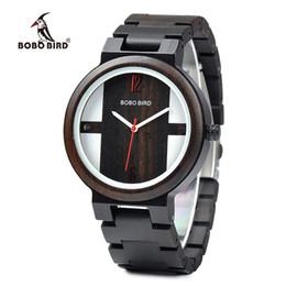 08e912b5d71 BOBO PÁSSARO Homens Relógio de Ébano Madeira Movimento de Quartzo Relógio  de Pulso Relogio masculino para o Dia dos Pais J-Q19