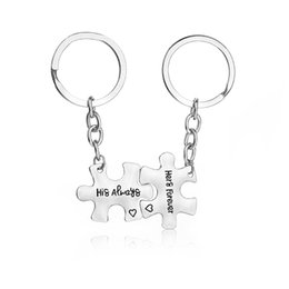 Wholesale Keychains For Couples - His always Hers forever Couples Keychains Set Key Rings Perfect Gift For Your Boyfriend