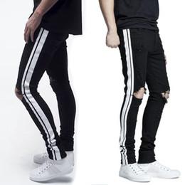 италия 38 Скидка Новая Италия стиль #1508# мужские проблемные выдалбливают брюки черный микс Белый боковой полосой джинсовые узкие джинсы тонкие брюки размер 28-38