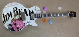 Canada Usine En Gros GYLP-3027 couleur blanche Art autocollant or matériel perle incrustation palissandre LP Guitare Électrique, Livraison gratuite Offre