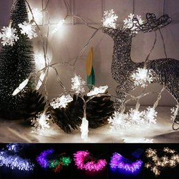 Wholesale Red Flakes - Wholesale- 20 LED Snow Flake Flowers Solar String Fairy Lights Outdoor Solar String Lights Decorated Garden Christmas beautiful