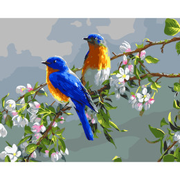 Wholesale Wall Paintings For Cheap - Impressionist Oil Paintings by Numbers Birds Wall Art For Home Digital Hand-Painted Drawing Canvas Oil 2018 Cheap Promotion