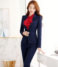 Wholesale Women Office Suits Designs - Formal Uniform Design Professional Office Work Wear Suits With Jackets And Pants Autumn Winter Female Pantsuits Trousers Set