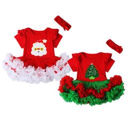 Красное рождественское платье для девочки онлайн-2018 Xmas Newborn Baby Girls Tutu Dress Red Santa Claus Romper Headband 2PCS Outfits Christmas Clothes 0-18M