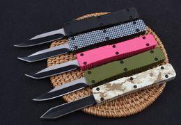 A mini chave chaveiro fivela de faca de alumínio dupla ação cetim 440C tanto lâmina faca dobrável presente de natal faca 1 PCS frete grátis de