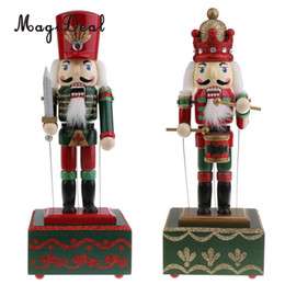 Wholesale wooden painting box - 2 Pieces 32cm Wooden Hand Painted Christmas Nutcracker Music Box Toy Xmas Decor Ornament -Soldier &Drummer