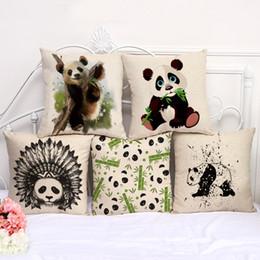 2019 coussin de coussin chinois Mignon chinois Panda Taie d'oreiller Bohème lit animal Taie d'oreiller Coton Draps Voiture ethnique Coussin coussin de coussin chinois pas cher