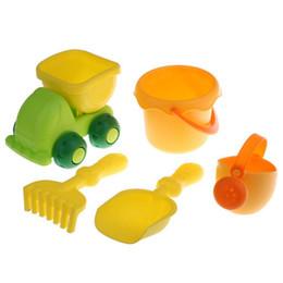strumenti da giardino del giocattolo Sconti 5pcs Beach Garden Tool Kit Secchio Vanga Truck Kid Sand Build Toy Gioca Sandpit Outdoor DDA357