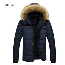 2019 5xl mens parkas M-5XL Men Parkas Hooded Thick Mens Winter Jacket Patchwork Plus Size 2017  Clothing Man Coat Fur Collar Overcoats Male дешево 5xl mens parkas