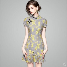 Wholesale Girls Simple Cotton Dresses - Qipao dress girl pure and fresh A word style simple lace bag buttock trim fishtail skirt improved version