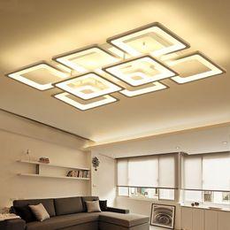 2019 sala de estar luces de techo rectángulo Montaje en superficie plafones LED moderna lámpara de techo para sala de estar dormitorio plafonnier niños lámpara de forma de rectángulo de acrílico sala de estar luces de techo rectángulo baratos