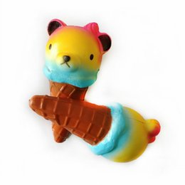 Wholesale Elastic Charms - Novelty Bear Ice Cream Squishy PU Mobile Phone Charm Elastic Soft Stress Reliever Squishies Hot Sale 8ct B