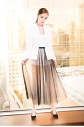 Wholesale Mesh Skirt Set - Pottis Women Three Pieces Sets Spring Summer Autumn Long Sleeves Blazer Suit Short Pant Mesh Midi Skirt Suit