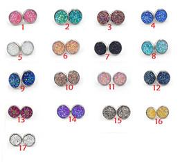 Wholesale trendy handmade earrings - Nice handmade resin round druzy earrings trendy simple stainless steel Tone wholesaling resin stone earring for lady