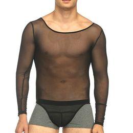 2019 monos transparentes Ver a través de Mesh Men Lencería Sexy Body Sheer Male Fitness Chaleco Conjoined Gasa Thin Transparente Body Shape Jumpsuits rebajas monos transparentes