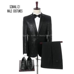 Wholesale Mens Tuxedo 54 Costume - In Stock Elegant Suit Men For Wedding 2018 Men Dress Costume Homme Terno Slim Fit Black Printed Flower Groomsmen Groom Suit Mens Tuxedo
