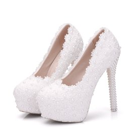 2f143a928cf6 white lace wedding shoes heels pumps for women thin heels platform wedding  shoes party heels round toe women pumps white
