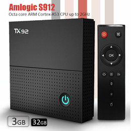 Core band online-Scatola tv Android Amlogic S912 TX92 tv box Android 7.1 Octa core 3GB DDR4 32GB eMMC 2.5G + 5.8G Potente WiFi dual band + BT4.1 UHD H.265 4K