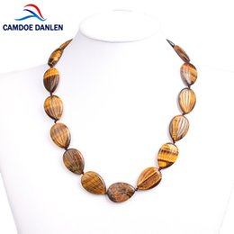 Wholesale Tiger Crystal Necklaces - whole saleNine Style Natural Stone Necklace Tiger Eye Crystal Trendy Lines Sunflower Seed Shape Women Chokers Necklace Classic Jewelry