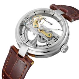 forsining relojes automáticos Rebajas FORSINING Diseño único de los hombres retro Ahueca hacia fuera el estilo Esqueleto Reloj Movimiento automático Reloj mecánico de pulsera Regalo fresco