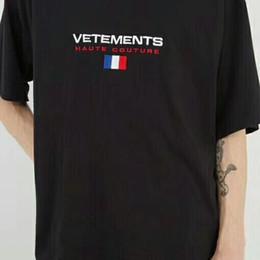 Wholesale Mens Flag T Shirt - 18ss Vetements Decline of France Flag Tee Hip Hop Skateboard Cool T-shirt Mens T-shirt Women Cotton Casual Cartoon T-Shirt HFWPTX059