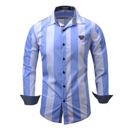Wholesale Mens Denim Dress Shirt - Men's Shirt Striped Long Sleeve Shirts Mens Dress Shirt Casual Denim Style Printing Shirts