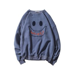 Wholesale Velvet Smile - Spring Funny Smile Embroidery Women Velvet Hoodie Crew Neck Long Pullover WHAT Printed Long Sleeves Lover Casual Top Clothing