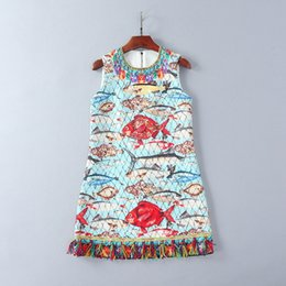 Wholesale Fishing Nail - European and American women's wear in 2018 The new spring sleeveless Nail bead sequins Sea fish prints jacquard dress