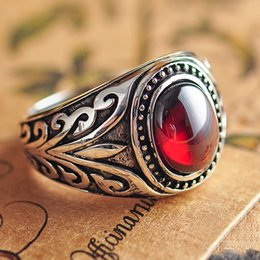Wholesale Natural Stone Rings Sterling Silver - Wholesale- Real 925 Sterling Silver Jewelry Vintage Rings For Men Engraved Flowers With Black Onxy Red Garnet Natural Stone Fine Jewellery