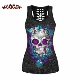 Wholesale Tanks Tops For Women - skull clothing butterfly skull printed women Sleeveless vest camiseta terror schedel sugar tank tops for women #ZKERBA