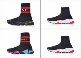 Wholesale flat black thigh high boots - Speed stretch-knit Mid sneakers,Vetements Sock Boots,Runner Ultraknit,form-fitting Training sports socks,Black Stretch-Knit Thigh-High Shoes