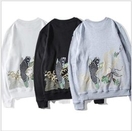 Wholesale Korean Couple Pullover - Harajuku style high street ulzzang Korean trend of men and women bf couple loose round neck hedging hoodless sweater