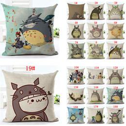Arredamento totoro online-45 * 45 CM Originalità Totoro Lino Federa Del Fumetto Cuscino Comodino Cuscino Divano Auto Home Decor Cuscino 19 stili AAA878