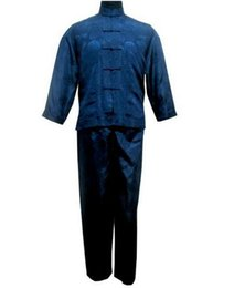 Одежда для тай-чи онлайн-Navy Blue Chinese Men's Satin  Suit Traditional Male Wu Shu Sets Tai Chi Uniform Clothing Plus Size S-XXXL MS017