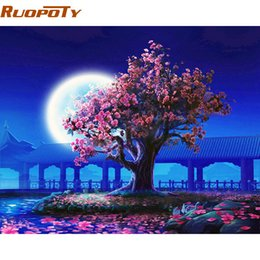Wholesale Paint Number Kit Canvas - RUOPOTY Romantic Moon Night Landscape DIY Painting By Numbers Kits Modern Wall Art Picture Handpainted For Home Decor 40x50cm