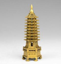 Statue del buddhismo online-chinese tibet buddhism temple brass Wenchang Tower chedi stupa Pagoda statua decorazione della casa in metallo artigianato