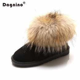 Wholesale boot grey fox - DAGNINO Wholesale Women Fashion Australia Real Fox Fur Genuine Leather Snow Boots 2018 Hot Warm Winter Ankle Shoes Zapatos Mujer